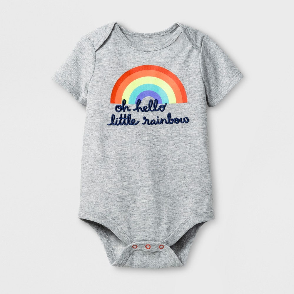 Baby Girls Little Rainbow Bodysuit - Cat & Jack Gray 0-3M, Size: 0-3 M