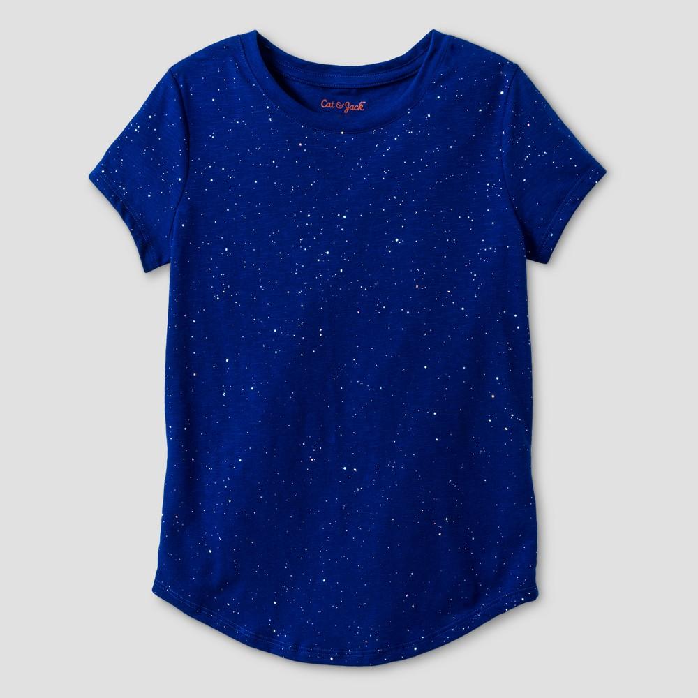 Girls Blue Sparkle Short Sleeve Crew-Neck T-Shirt - Cat & Jack Blue Dream S
