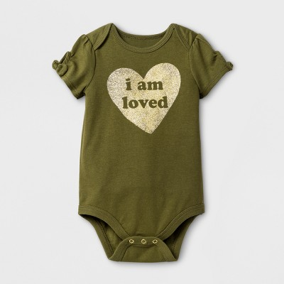 Baby Girls' I am Loved Bodysuit - Cat & Jack™ Olive 18 Months