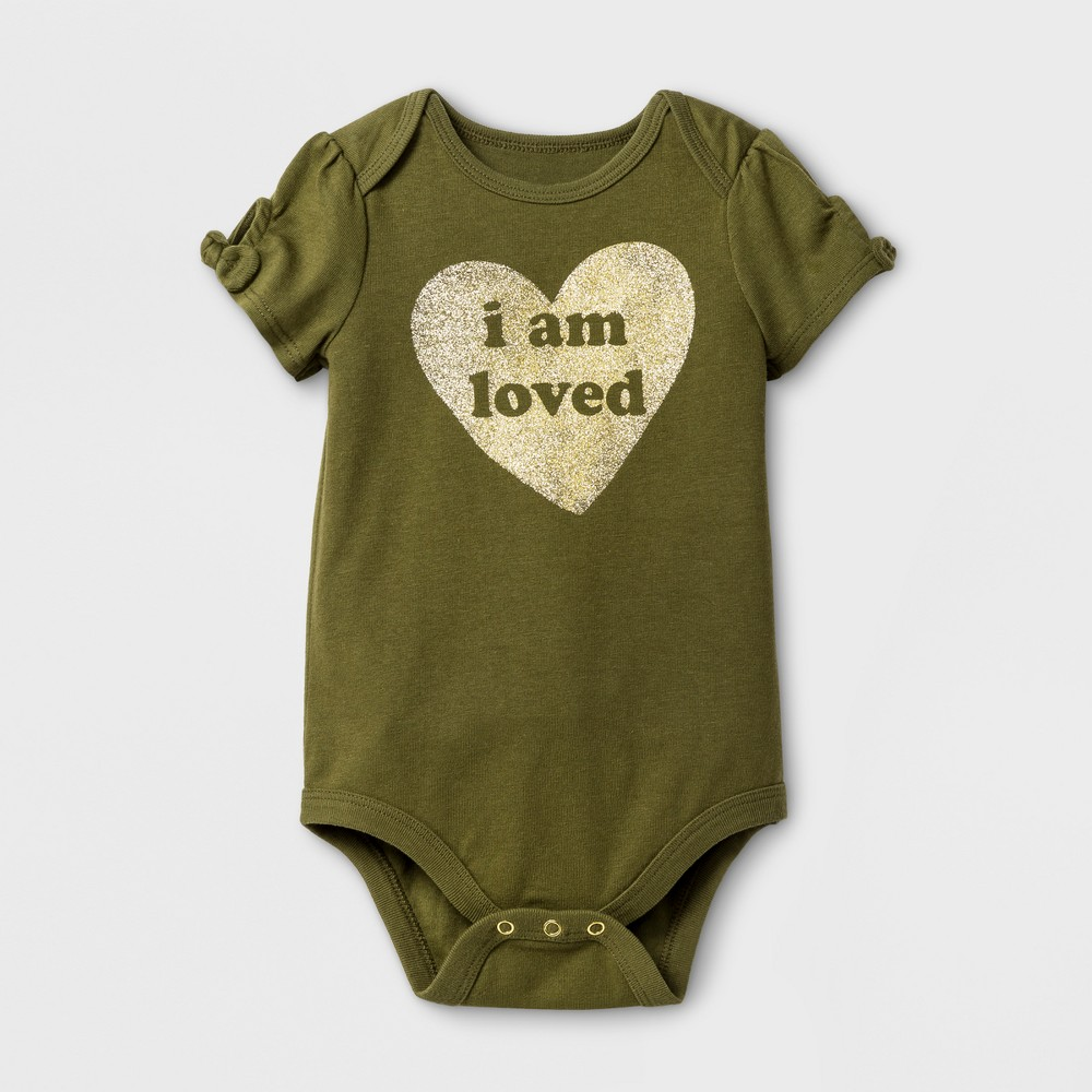Baby Girls I am Loved Bodysuit - Cat & Jack Olive 3-6 Months, Size: 3-6 M, Green