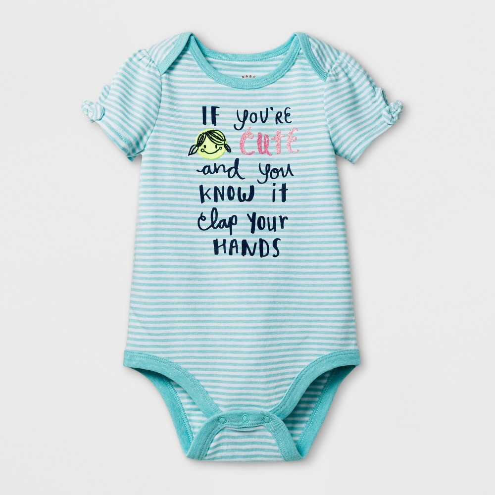Baby Girls Happy and You Know It Bodysuit - Cat & Jack Aqua/White 3-6 Months, Size: 3-6 M, White Blue