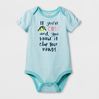 Baby Girls' Happy and You Know It Bodysuit - Cat & Jack™ Aqua/White 6-9 Months