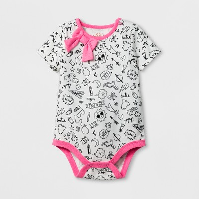 Baby Girls' Short Sleeve Bow Neck Doodles Bodysuit - Cat & Jack™ White 6-9 Months