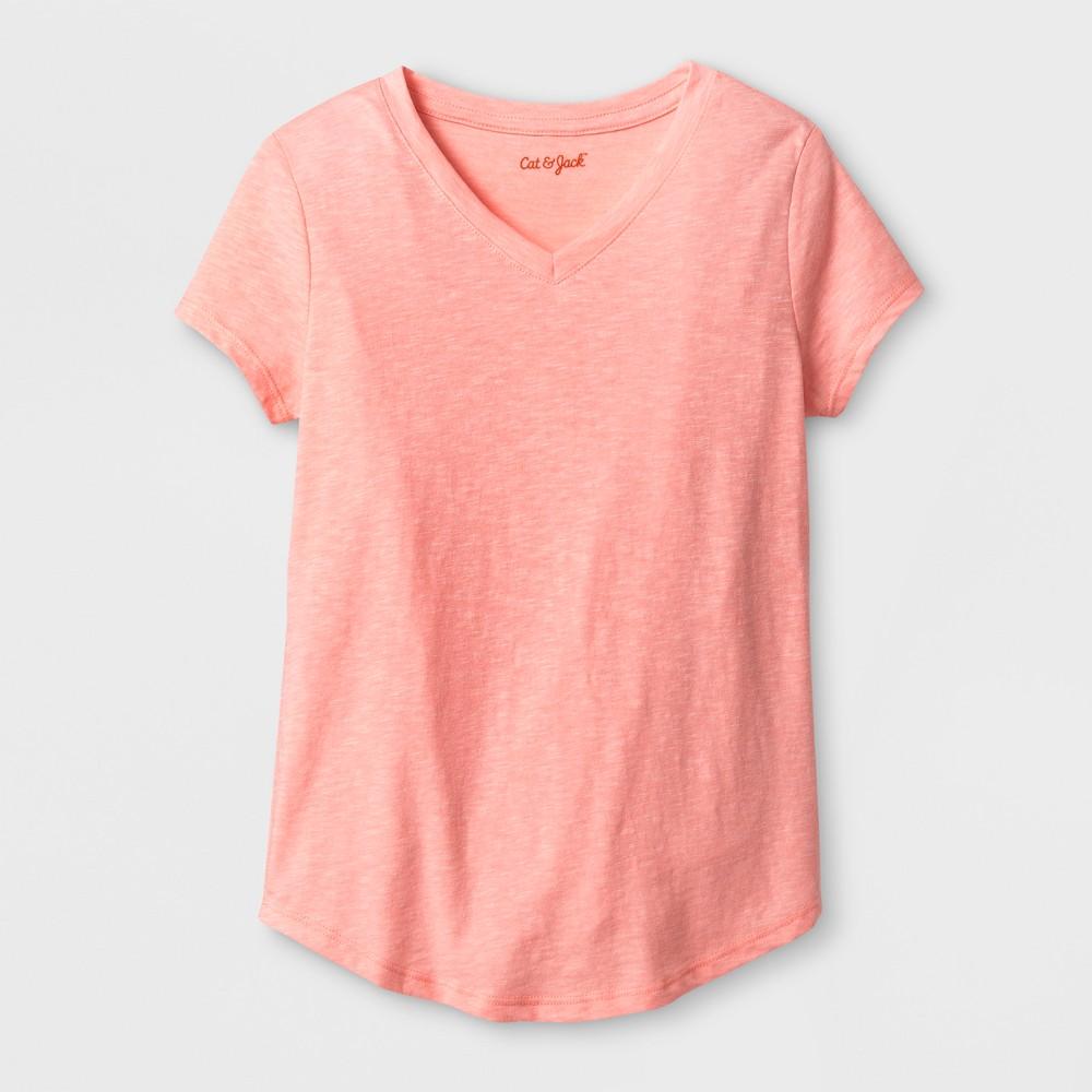 Girls Short Sleeve V-Neck T-Shirt - Cat & Jack Coral (Pink) L