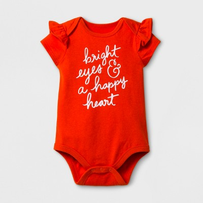 Baby Girls' Short Sleeve Bright Eyes and a Happy Heart Bodysuit - Cat & Jack™ Orange 6-9 Months
