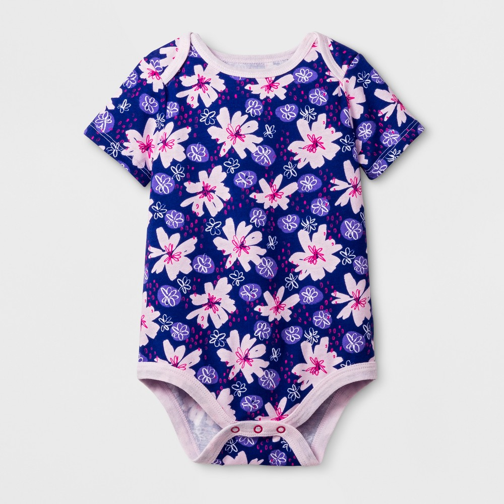 Baby Girls Short Sleeve Texture Lap Shoulder Bodysuit - Cat & Jack Floral Print 18 Months, Size: 18 M, Blue