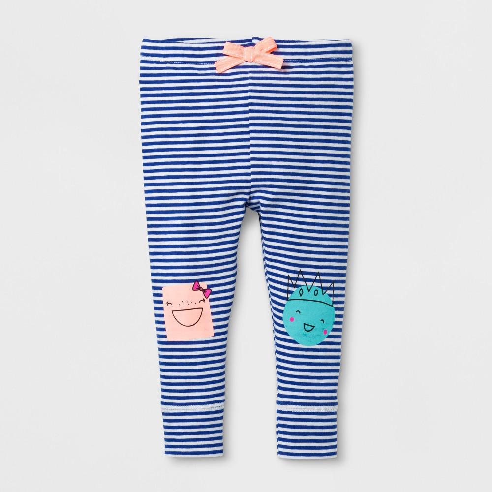 Baby Girls Stripe Cuffed Leggings - Cat & Jack Blue/White 6-9 M