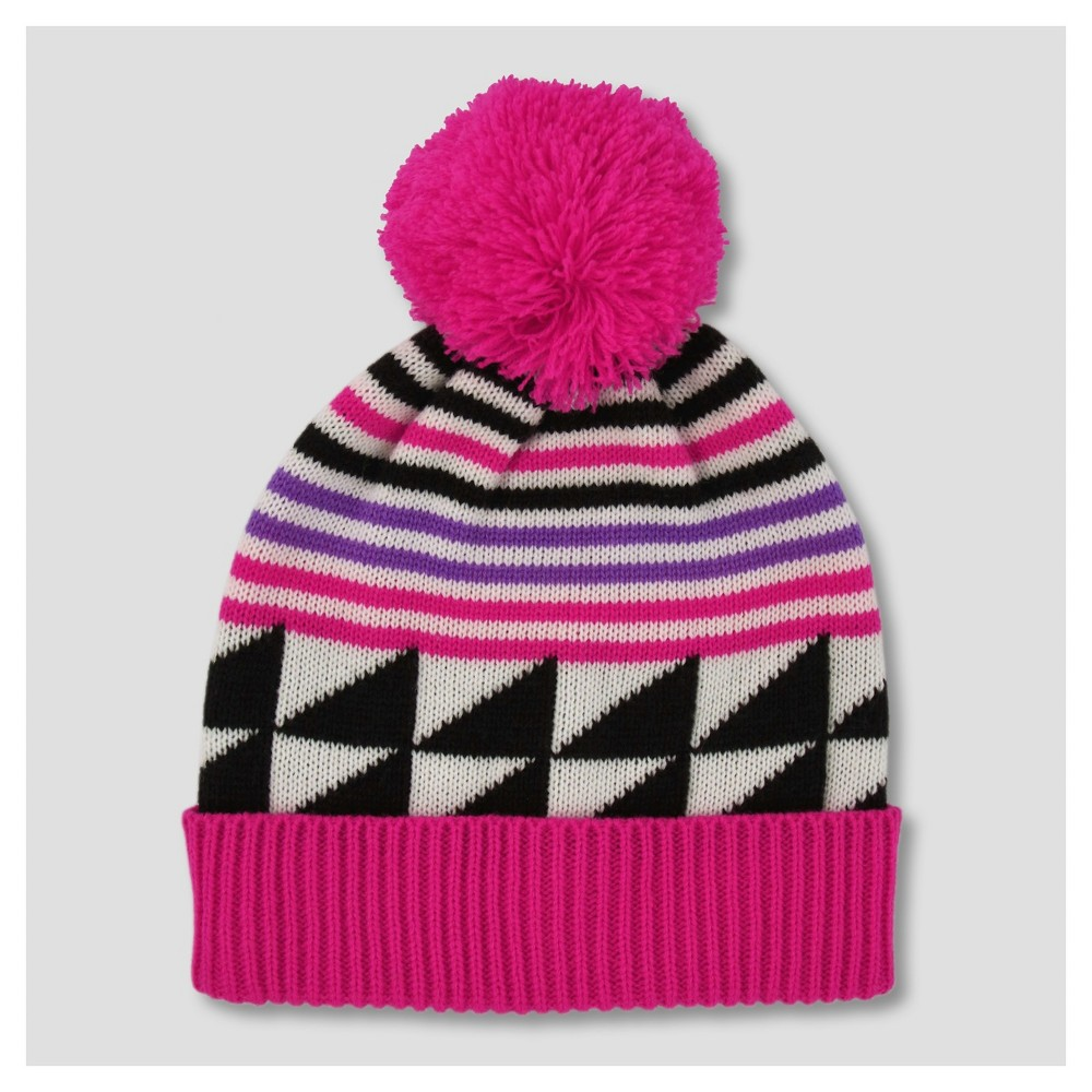 Girls Triangle Print Pom Beanie - Cat & Jack, Multi-Colored