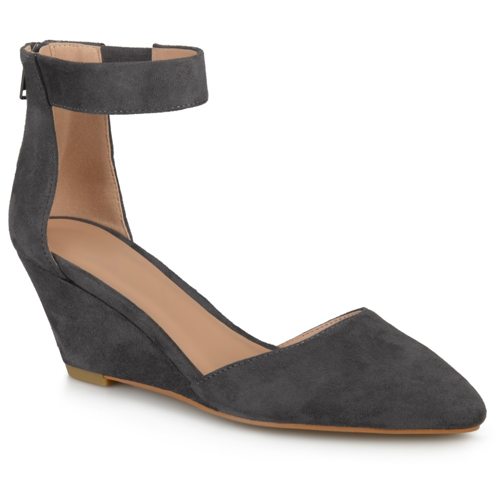 Womens Journee Collection Kova Faux Suede Ankle Strap Pointed Toe Wedges - Gray 6.5