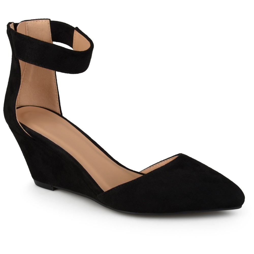 Womens Journee Collection Kova Faux Suede Ankle Strap Pointed Toe Wedges - Black 7.5