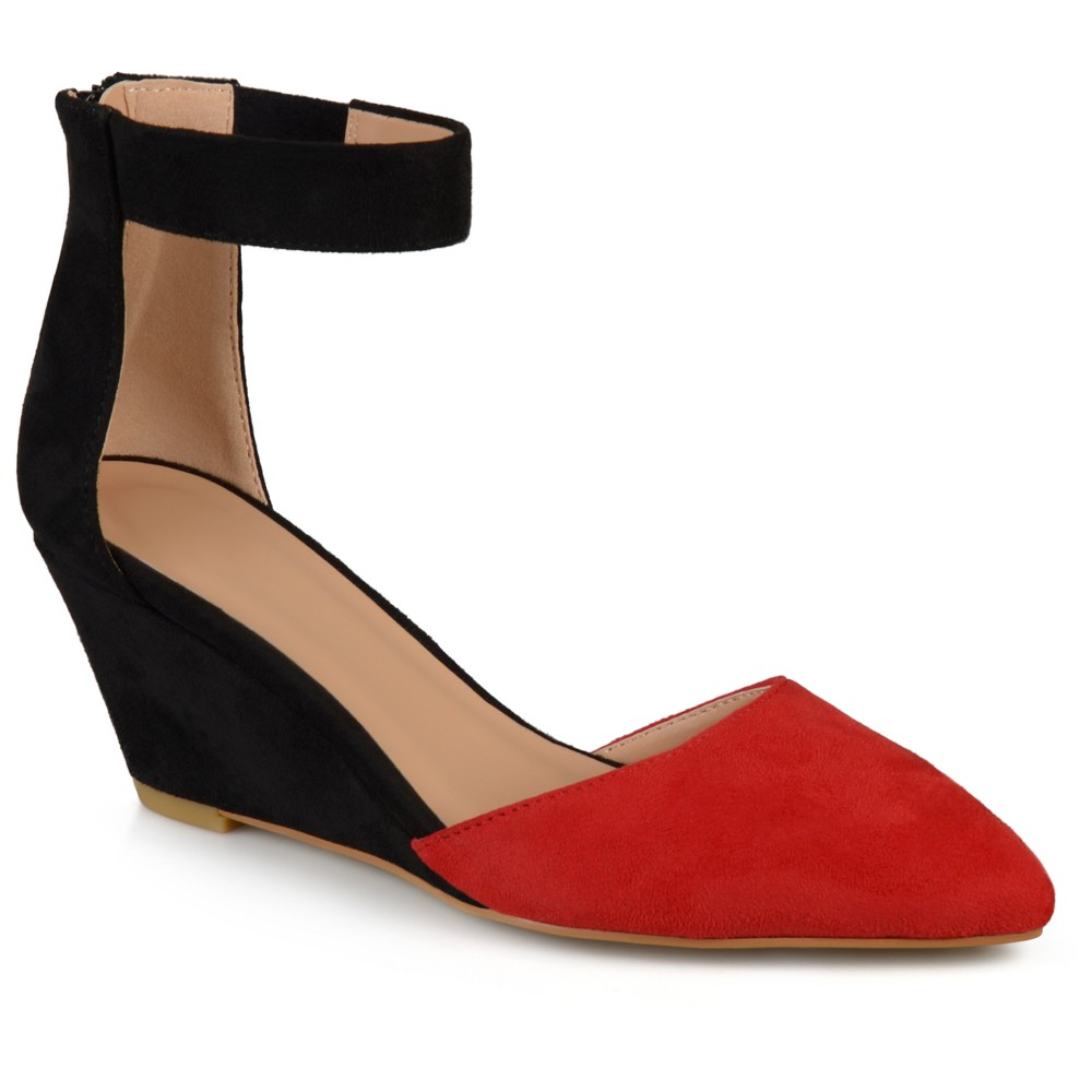 Womens Journee Collection Kova Faux Suede Ankle Strap Pointed Toe Wedges - Red 7