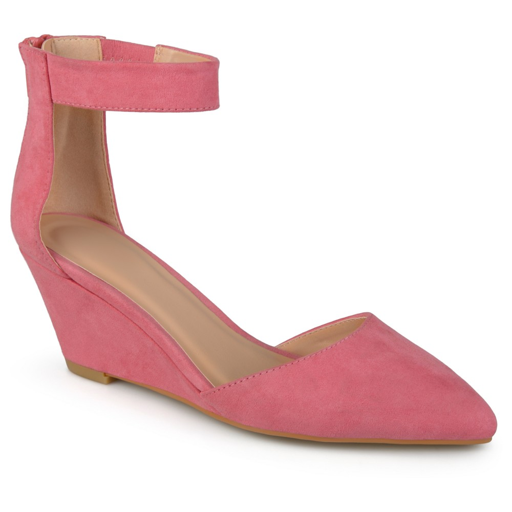 Womens Journee Collection Kova Faux Suede Ankle Strap Pointed Toe Wedges - Pink 6.5