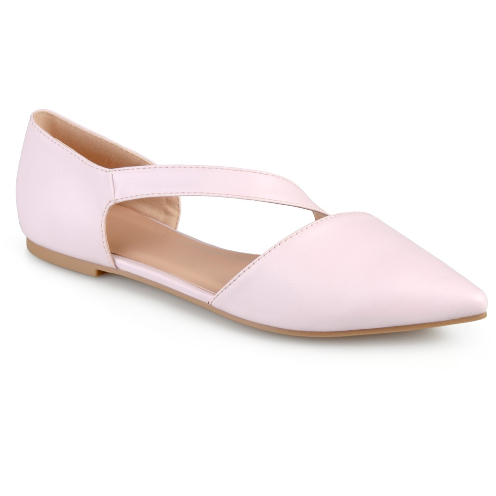 Womens Journee Collection Landry Pointed Toe Cross Strap Flats - Pink 9