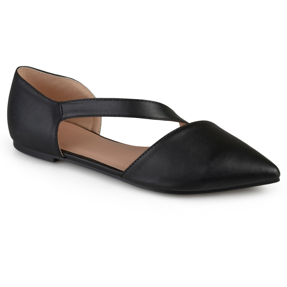 Womens Journee Collection Landry Pointed Toe Cross Strap Flats - Black 7