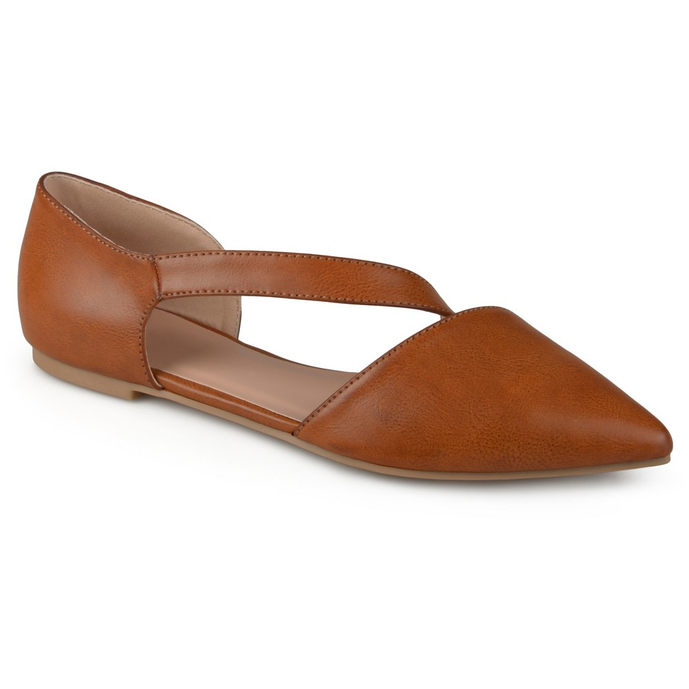 Womens Journee Collection Landry Pointed Toe Cross Strap Flats - Brown 6