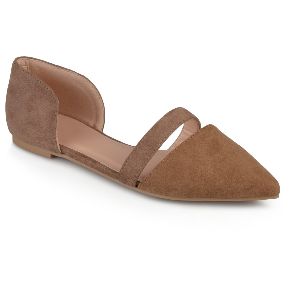 Womens Journee Collection Nite Faux Suede Pointed Toe Flats - Taupe (Brown) 10