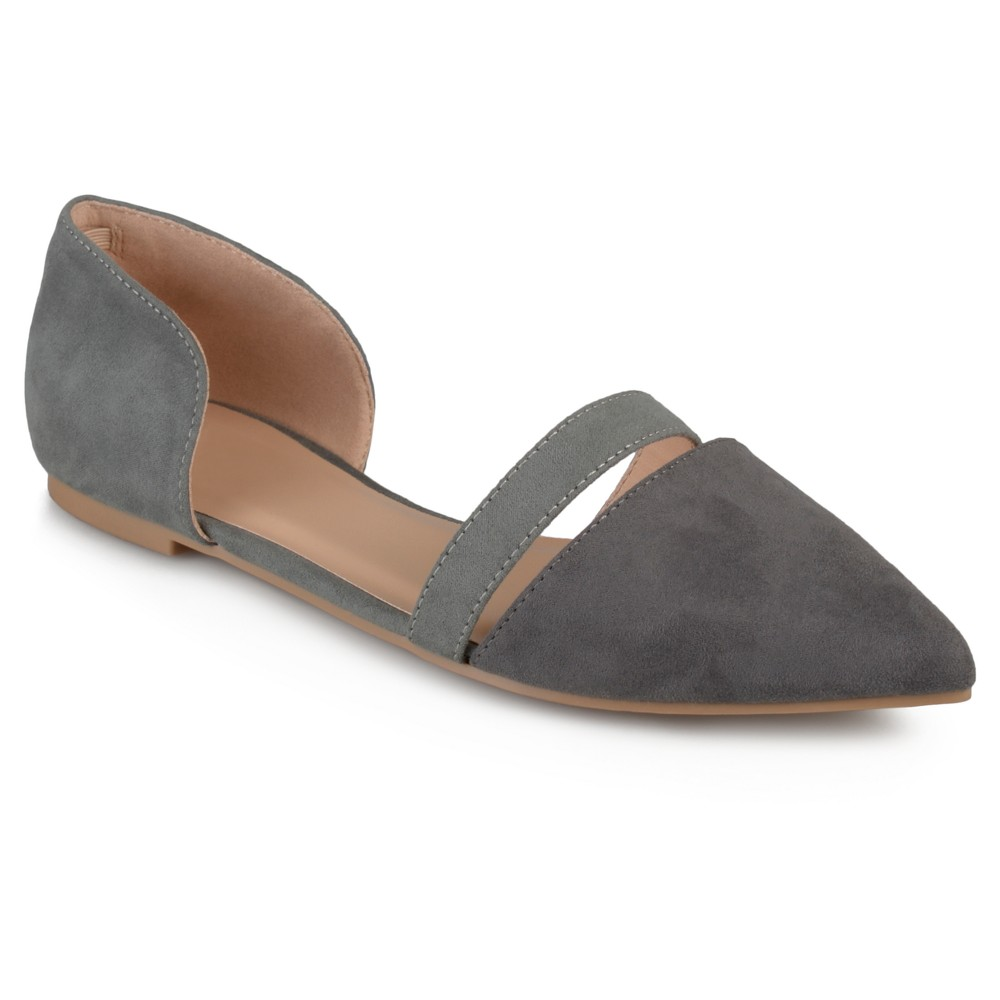Womens Journee Collection Nite Faux Suede Pointed Toe Flats - Gray 8.5