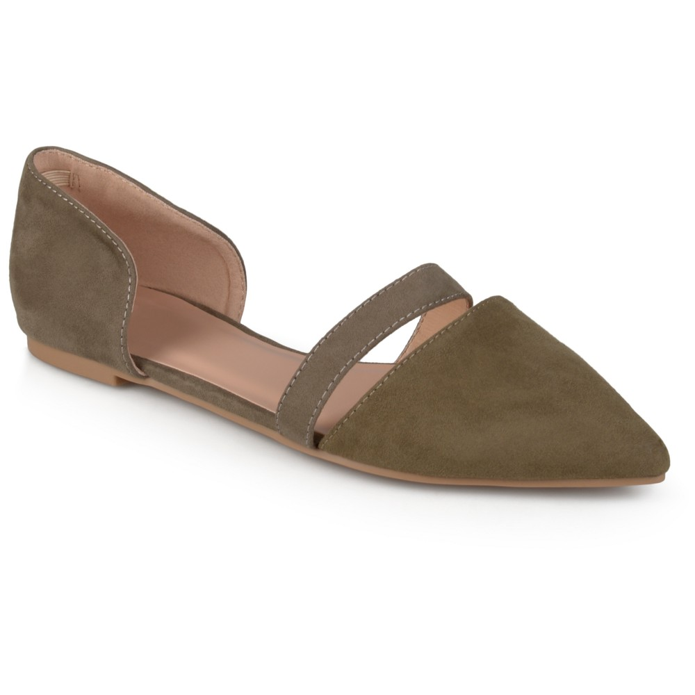 Womens Journee Collection Nite Faux Suede Pointed Toe Flats - Green Olive 9