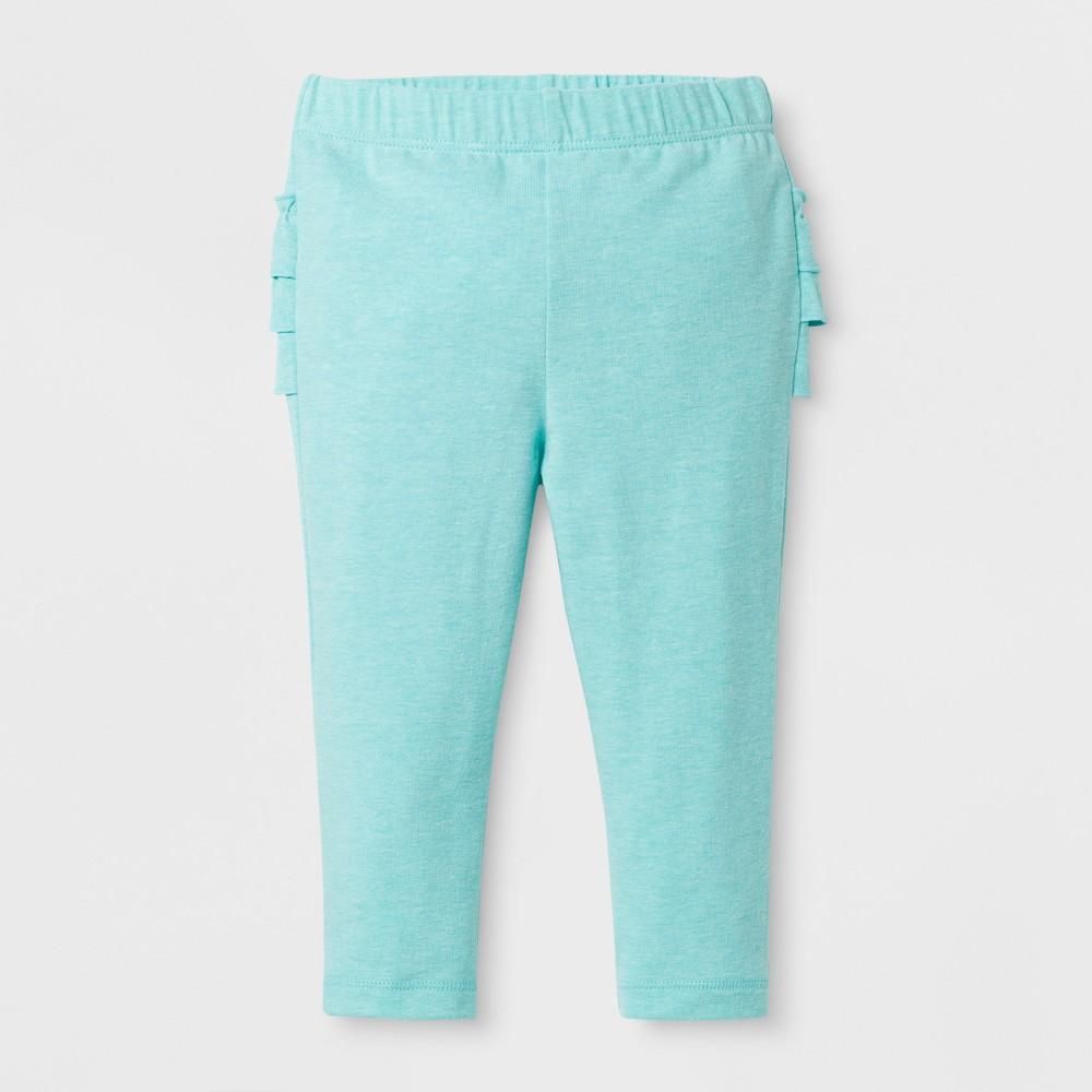 Baby Girls Ruffle Bum Leggings - Cat & Jack Aqua NB, Blue