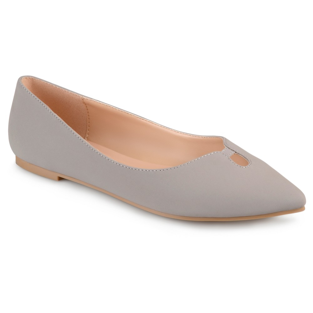 Womens Journee Collection Hildy Classic Pointed Toe Flats - Gray 9