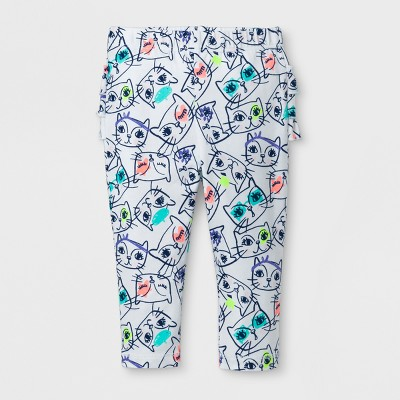 Baby Girls' Ruffle Bum Leggings - Cat & Jack™ Cat Print 0-3 M