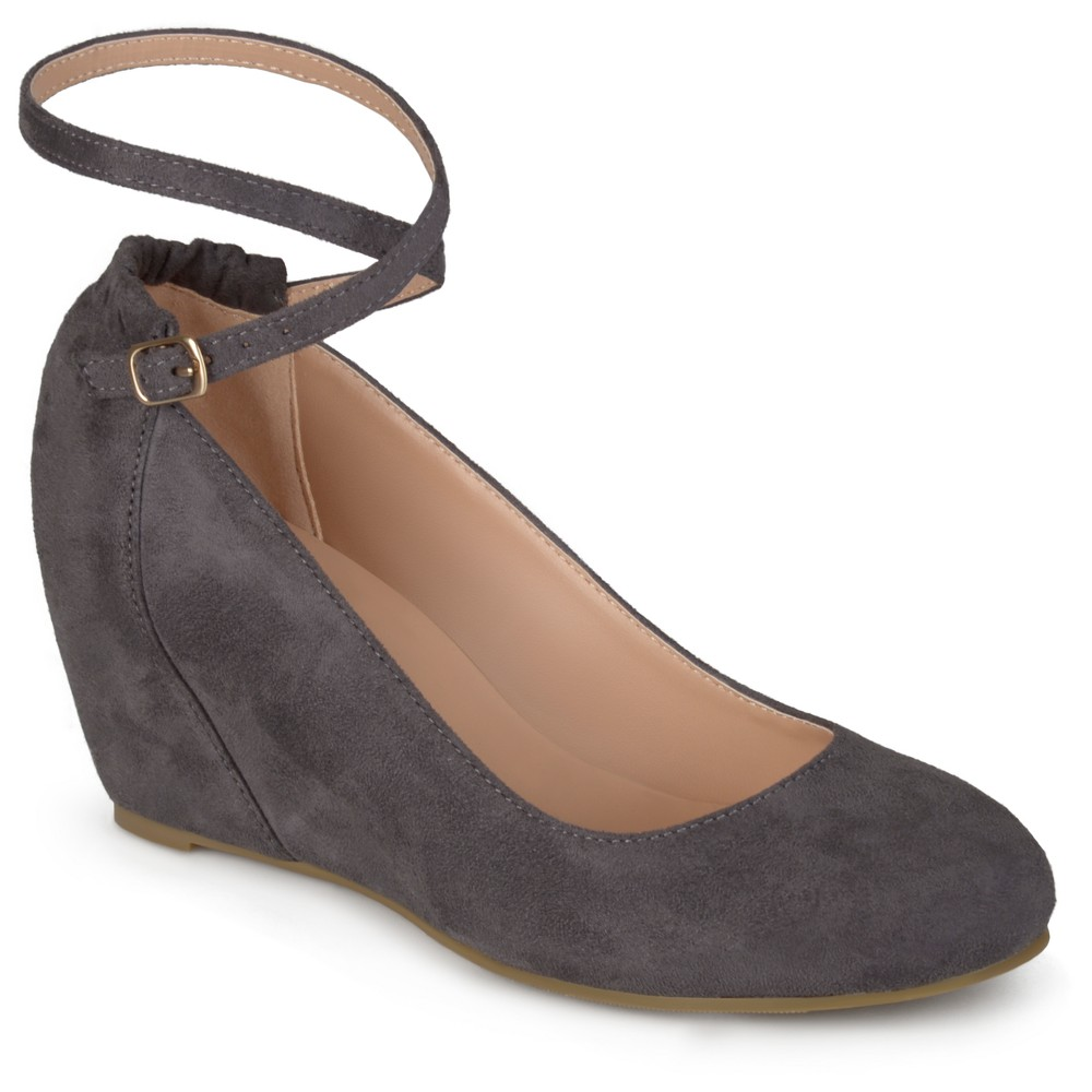 Womens Journee Collection Tibby Faux Suede Ankle Strap Covered Wedges - Gray 8.5