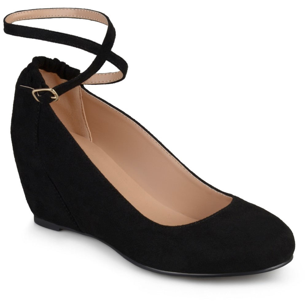 Womens Journee Collection Tibby Faux Suede Ankle Strap Covered Wedges - Black 6.5