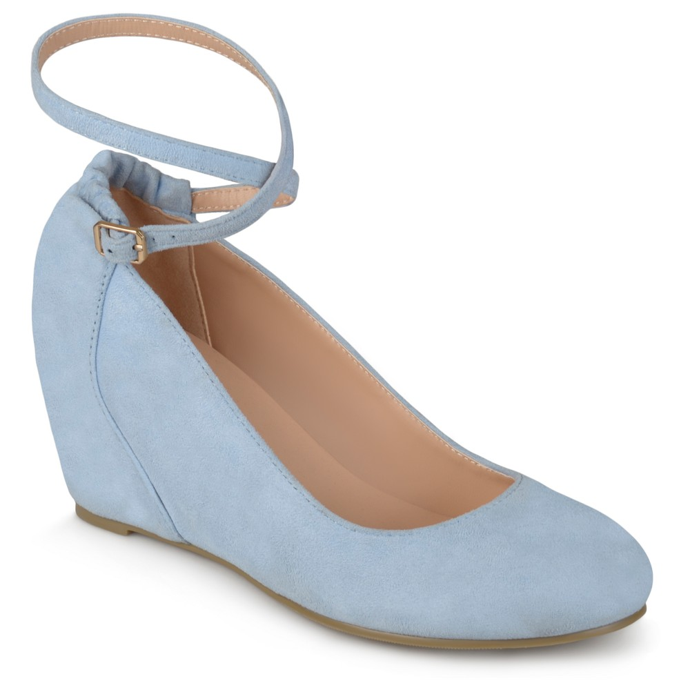 Womens Journee Collection Tibby Faux Suede Ankle Strap Covered Wedges - Blue 7.5