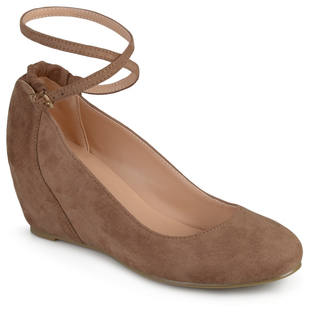 Womens Journee Collection Tibby Faux Suede Ankle Strap Covered Wedges - Taupe (Brown) 8.5