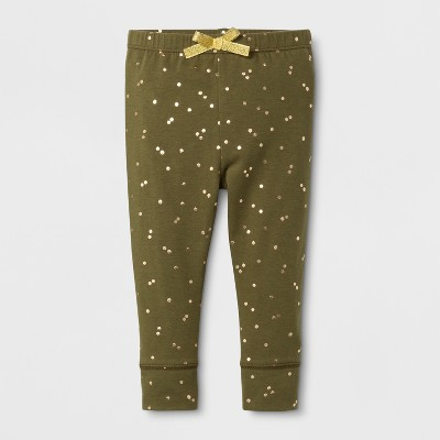 Baby Girls' Cuffed Leggings - Cat & Jack™ Olive NB