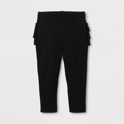 Baby Girls' Ruffle Bum Jogger - Cat & Jack™ Black 6-9 Months