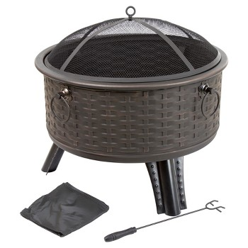 Pure Garden 26 Round Woven Metal Fire Pit with Cover