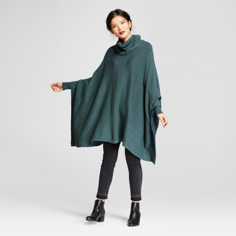 Womens Cowlneck Poncho - A New Day Green L
