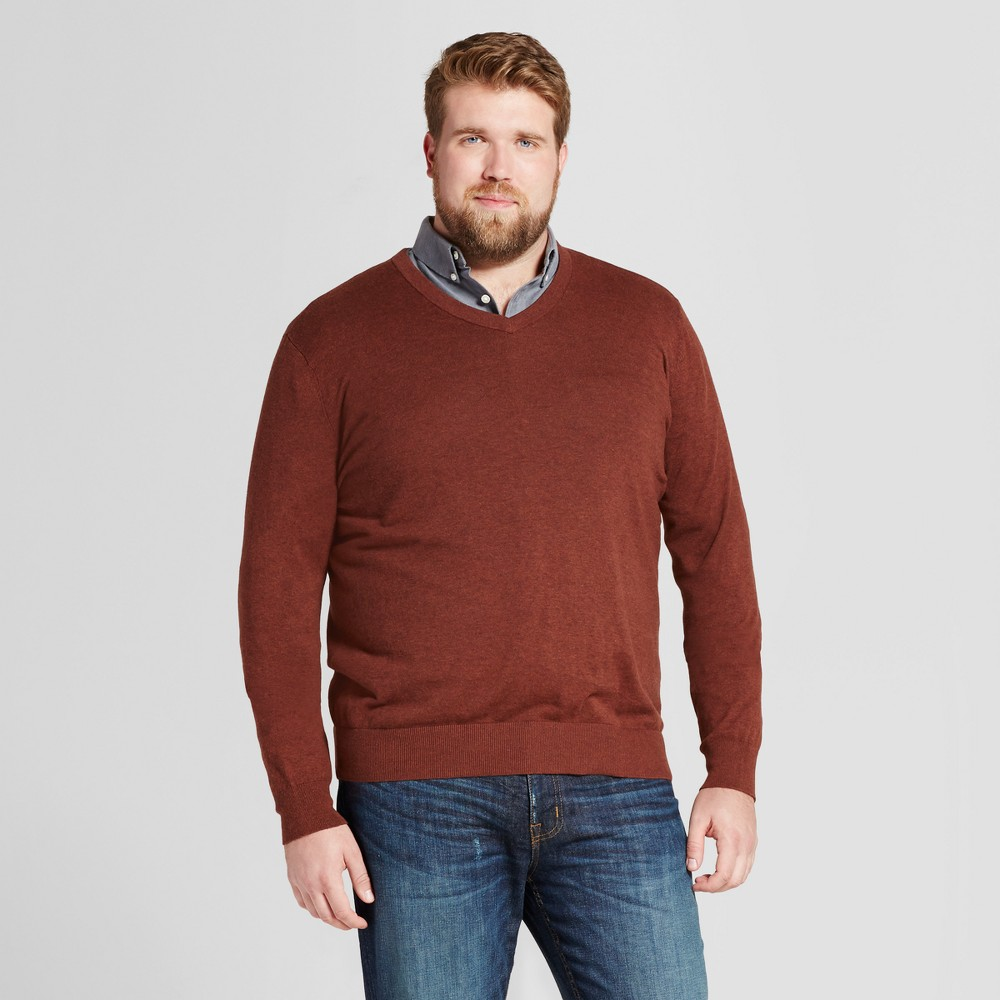 Mens Big & Tall V-Neck Sweater - Goodfellow & Co Rust (Red) 2XBT