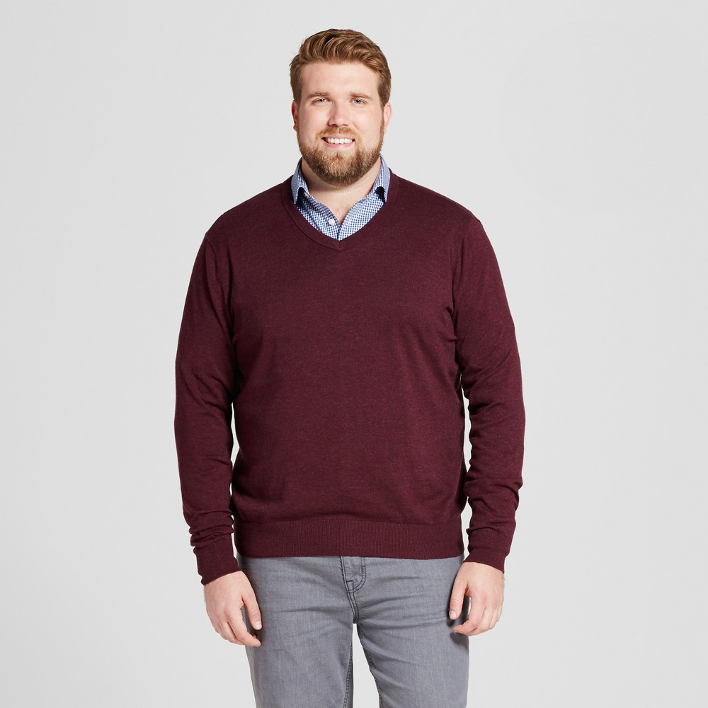 Mens Big & Tall V-Neck Sweater - Goodfellow & Co Burgundy (Red) 2XB