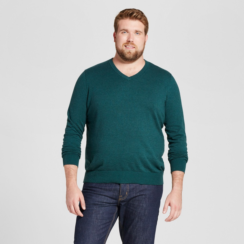 Mens Big & Tall V-Neck Sweater - Goodfellow & Co Green Heather 2XB