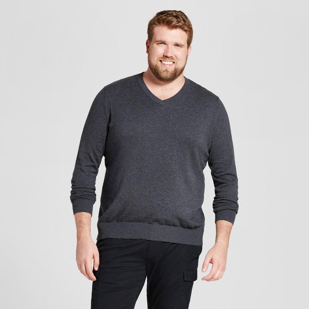 Mens Big & Tall V-Neck Sweater - Goodfellow & Co Heather Black LT