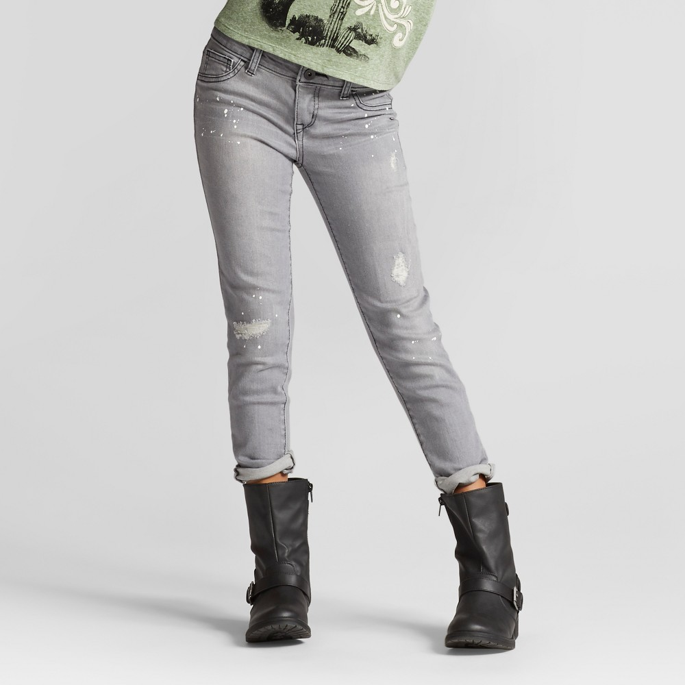 Girls Super Skinny Jeans with Paint Splatter - Art Class Gray 8 Slim