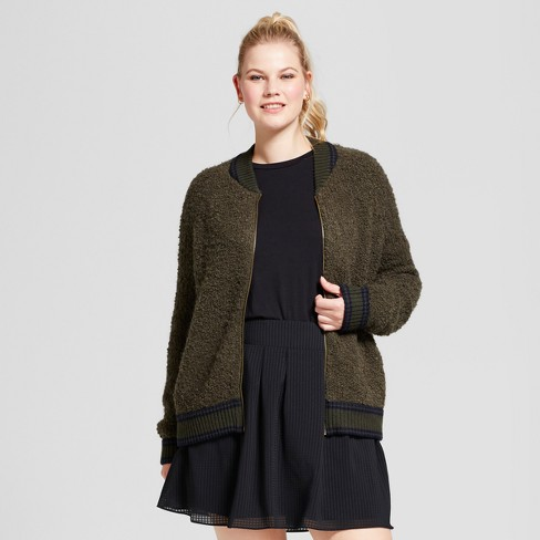 Women's Plus Size Boucle Bomber - A New Day™ - image 1 of 3