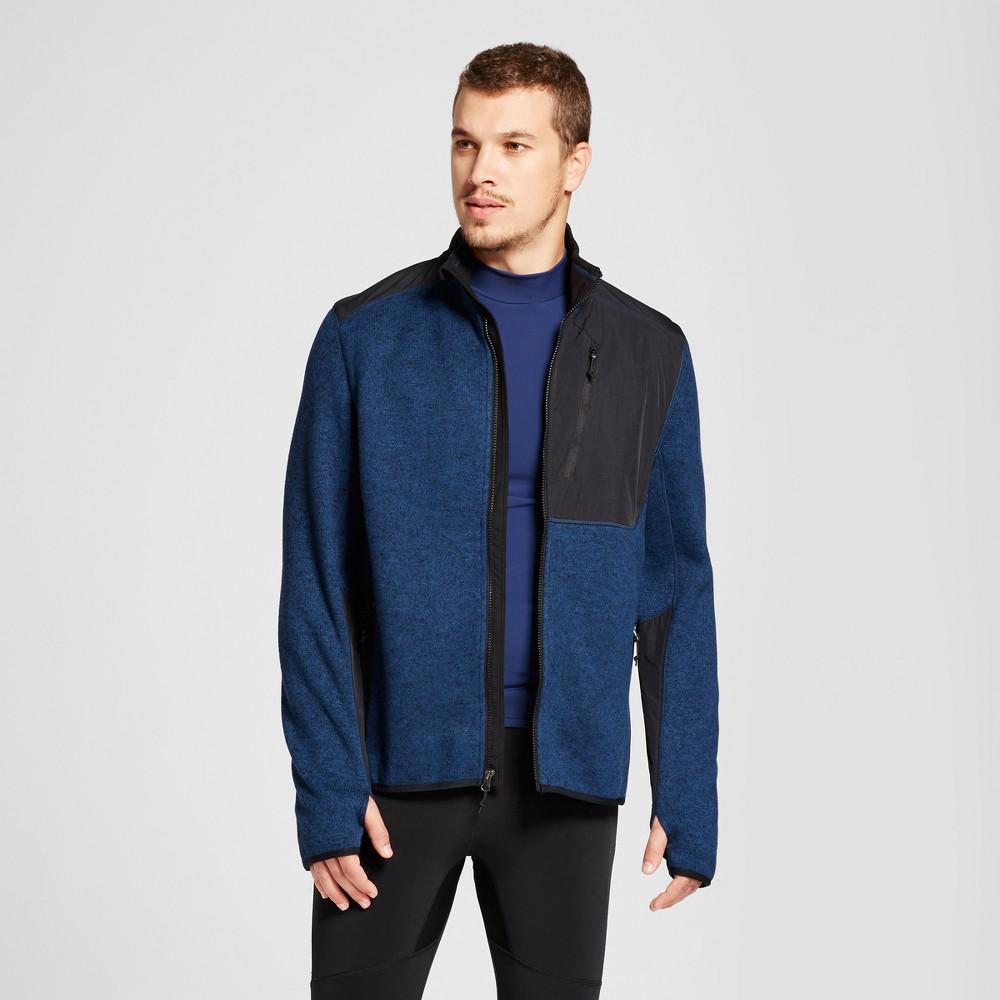 Mens Sweater Fleece Jacket - C9 Champion Cruising Blue Heather XL