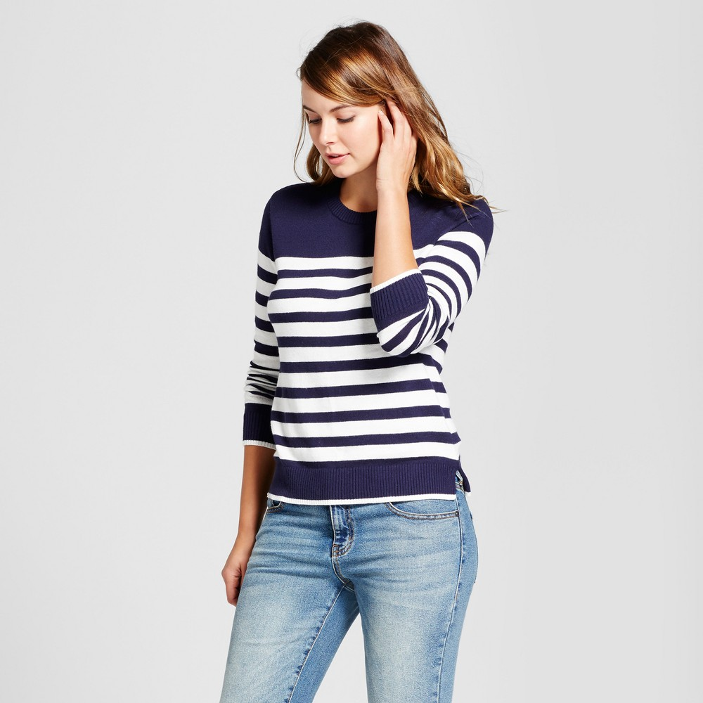 Womens Striped Any Day Pullover - A New Day Navy (Blue) L