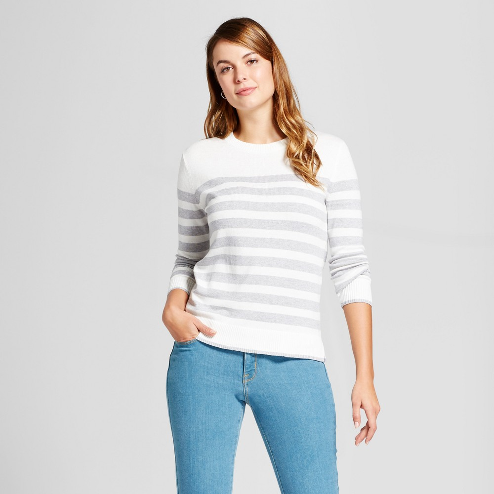 Womens Striped Any Day Pullover - A New Day Cream (Ivory) XS