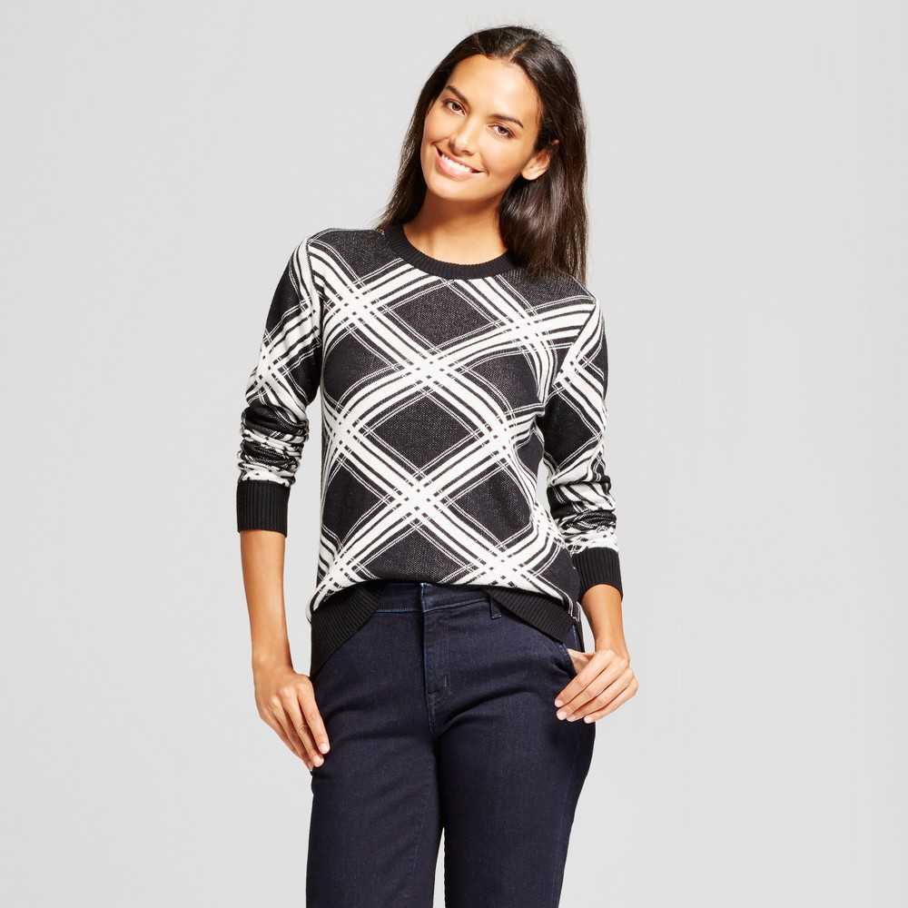 Womens Argyle Any Day Pullover - A New Day Black M