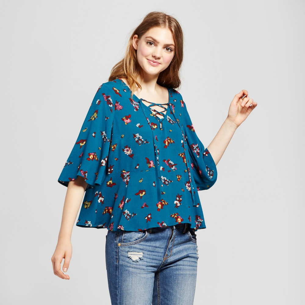 Womens Woven Lace-Up Floral Blouse - Mossimo Supply Co. Blue L