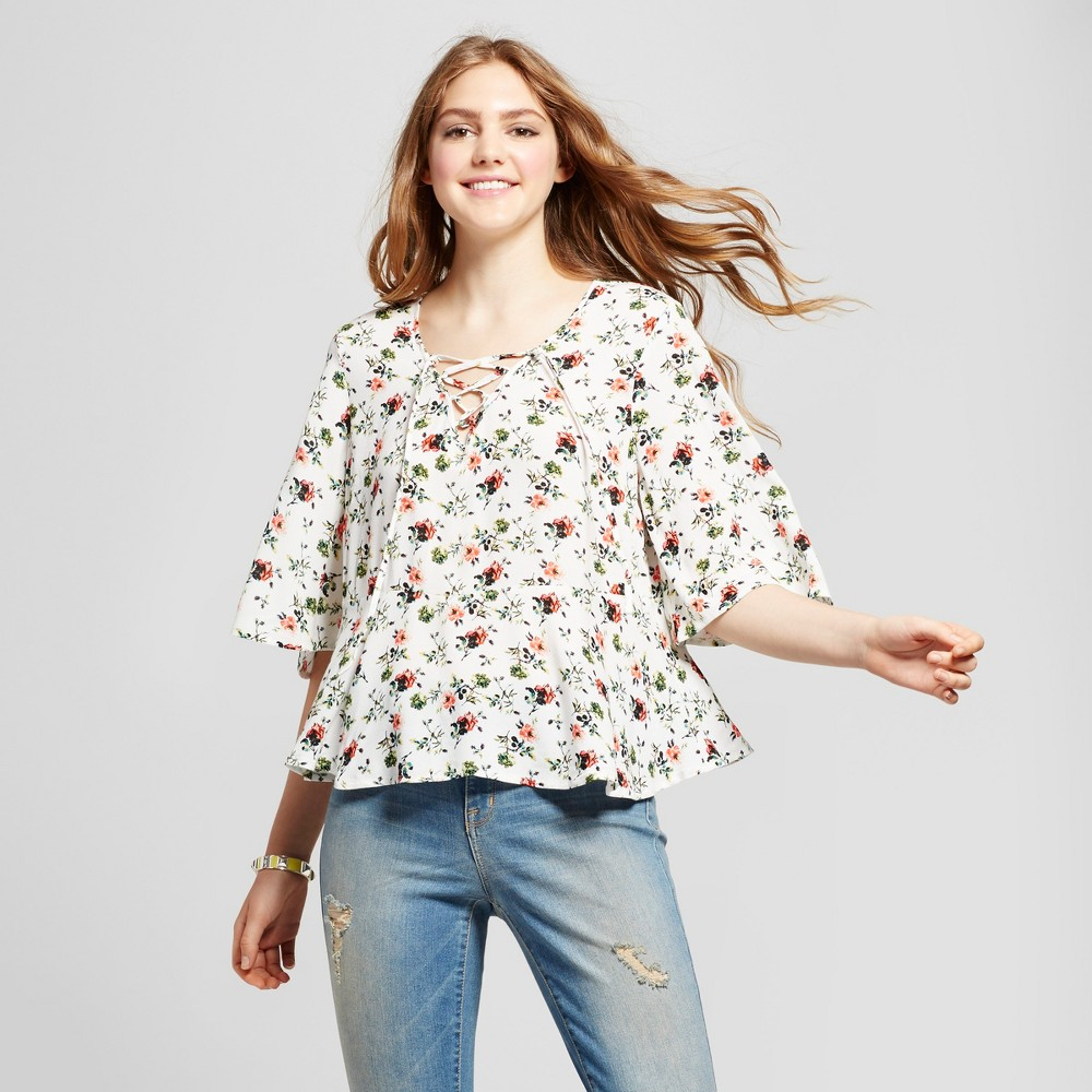 Womens Woven Lace-Up Floral Blouse - Mossimo Supply Co. Cream S, White