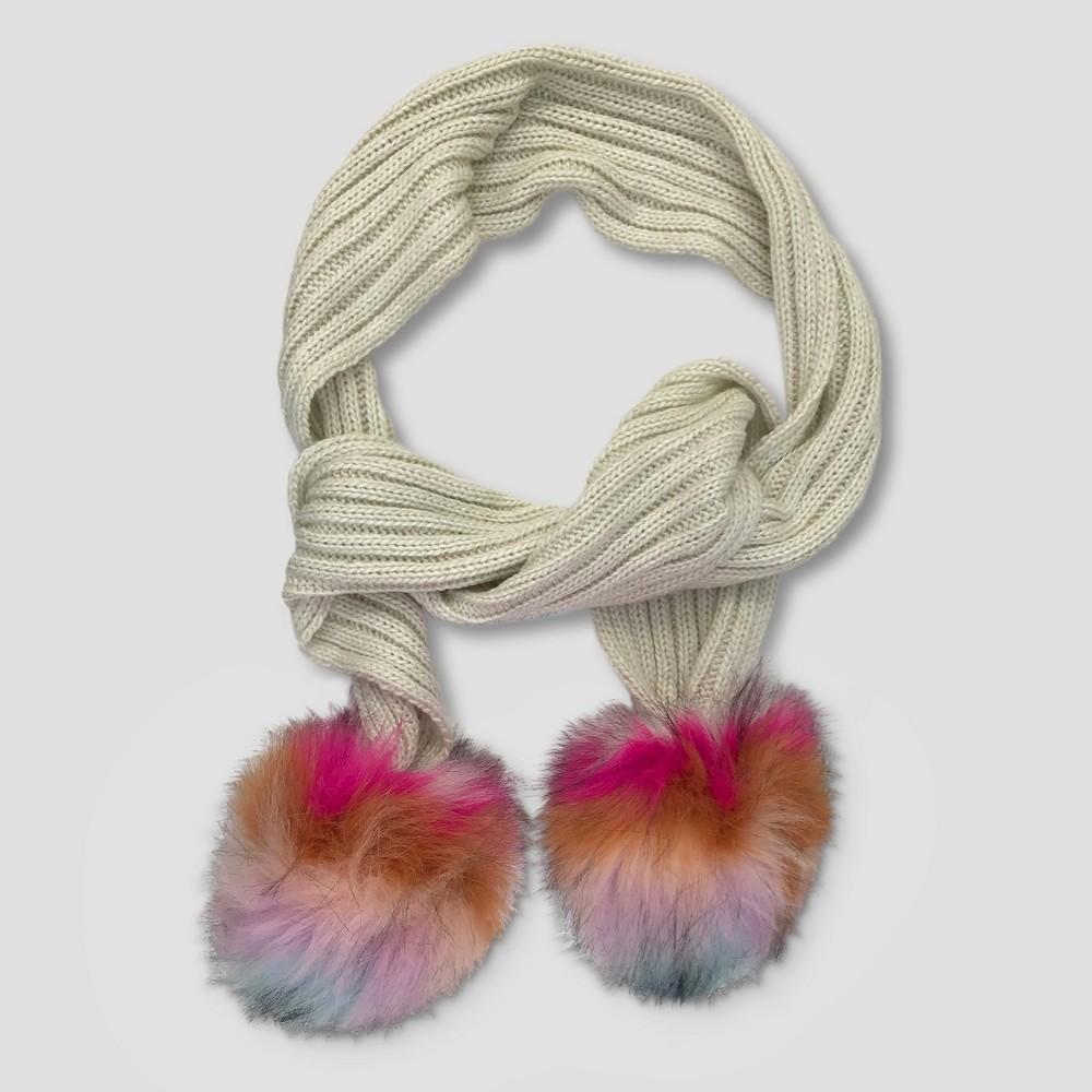 Girls Faux Fur Oversized Pom Knit Scarf - Cat & Jack Cream (Ivory)