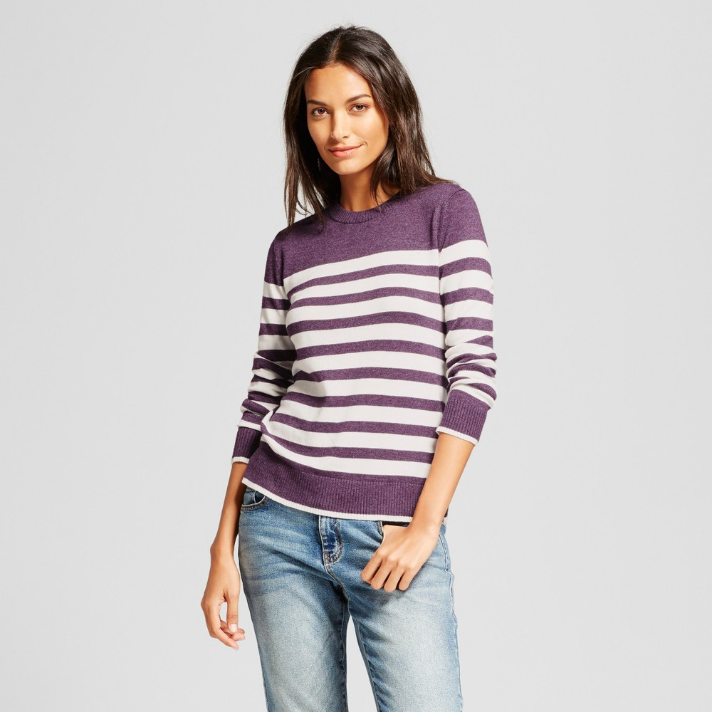 Womens Striped Any Day Pullover - A New Day Purple XS