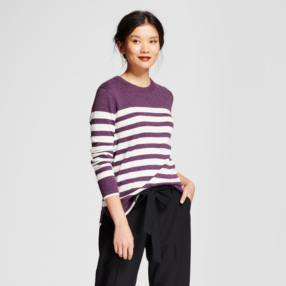 Womens Striped Any Day Pullover - A New Day Purple L