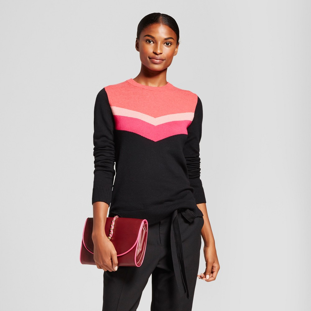Womens Chevron Any Day Pullover - A New Day Black XS, Pink