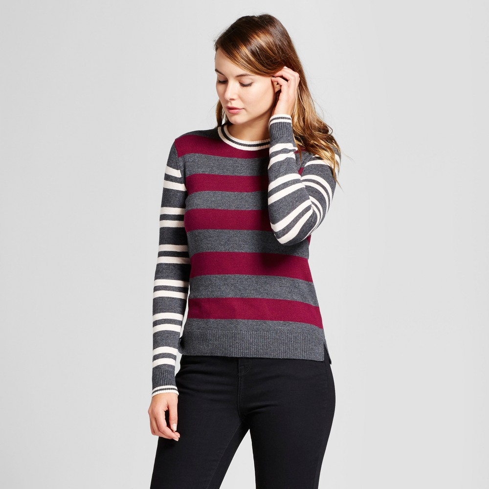 Womens Multi Stripe Any Day Pullover - A New Day Cherry (Red) XL